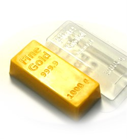 Золотой слиток форма пластиковая - фото 7391