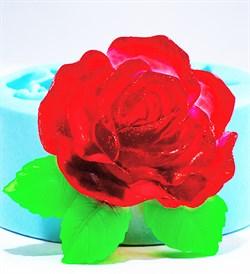 Роза с листочками2 2D силиконовая форма - фото 8811