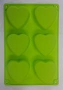 Сердце (лист 6шт.) силиконовая форма