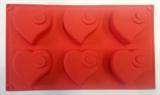 Сердечки с Завитками (лист 6шт.) силиконовая форма