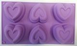 Сердечки двойные maxi (лист 6шт.) силиконовая форма