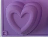 Сердечки двойные maxi (1шт.) силиконовая форма