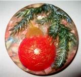 Еловая ветка с шариком  2D силиконовая форма
