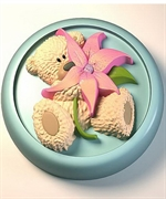 Мишка с цветком 2D силиконовая форма