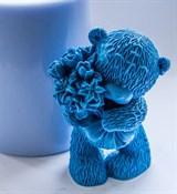 Мишка с букетом 3D силиконовая форма