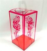 Коробочка подарочная прозрачная с рисунком(пластик) 22,5*11*11см Роза