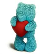Медвежонок с сердечком (стоит) 3D форма пластиковая