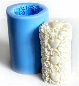 Цилиндр из роз и сердец 3D силиконовая форма