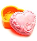Цветочное сердце 23  2D силиконовая форма