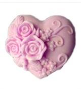 Сердце с розами  2D Силиконовая форма