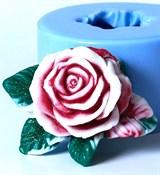 Роза с листочками 3D силиконовая форма