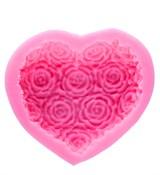 Сердце с розами3  2D Силиконовая форма