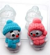 Снеговики парочка форма пластиковая