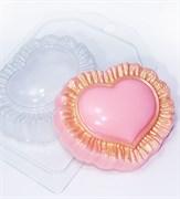 Сердце с рюшами форма пластиковая