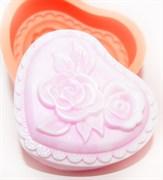 Сердце с розочками 2D силиконовая форма