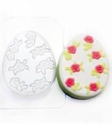 Яйцо Плоское/ Мелкие цветочки форма пластиковая