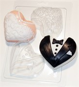 Сердца-молодожёны форма пластиковая