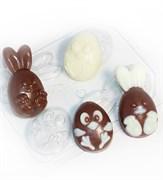 Кролик и цыплёнок мультяшные (4 мини) форма пластиковая