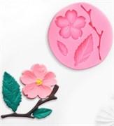 Цветок, лист и веточка mini силиконовая форма (молд)