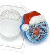 Круг в новогодней шапке под водорастворимку форма пластиковая