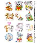 Водорастворимая бумага с рисунками №32 Новый Год 2020 МЫШКИ (квадрат)