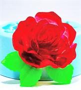 Роза с листочками2 2D силиконовая форма